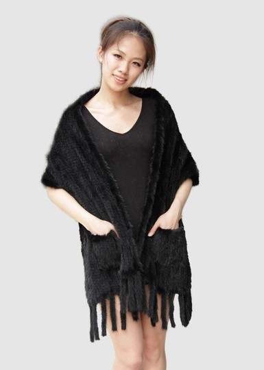 Neiman Marcus Knitted Mink Fur Stole with Pockets