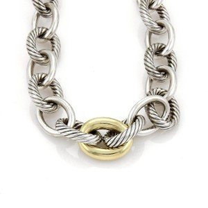 David Yurman David Yurman Sterling 18k Yellow Gold On Silver Oval Cable Link Necklace