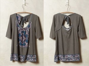 Anthropologie T Shirt Gray/ Pink/Blue