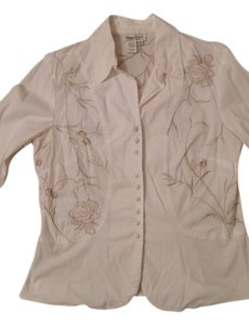 Coldwater Creek Top White w/ beige embroidery