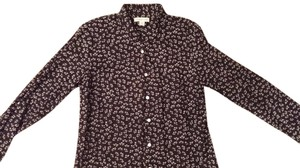 Coldwater Creek Top Black w/ flower print