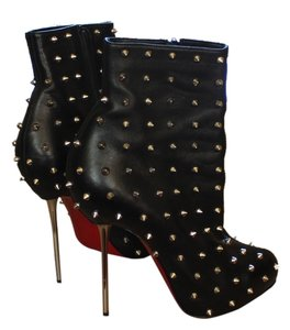 Christian Louboutin Leather Silver Silver Hardware Stiletto Round Round Toe Metallic Metal Heel Lipspikes Ankle Studded Spike Black Boots