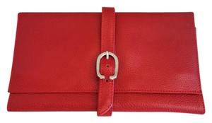 Longchamp LONGCHAMP Red Leather Buckled Jewelry Organizer