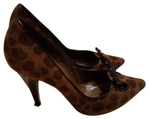 Moschino Made In Italy Cheap Chic Spotted Animal Print Brown and Black Pumps