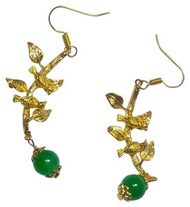 Gold Tone Green Aventurine Gemstone Bird Branch Earrings J2963