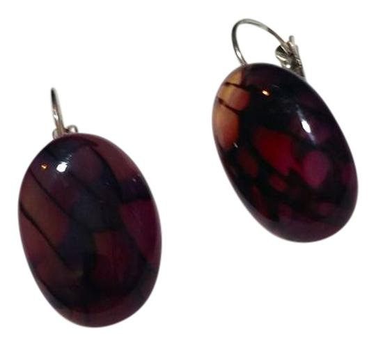Other New Dragon's Vein Agate Gemstone French Hook Earrings J3499 Image 1
