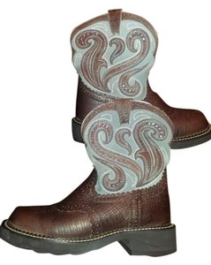 Ariat 6.5 Brown and blue and gemstones Boots