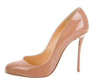 Christian Louboutin Patent Leather Merci Allen Beige Pumps