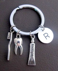 Fashion Jewelry For Everyone Dental Hygienist Keychains Personalized Dental Hygienist Gifts Dental Key Chains Initial Key Chain Tooth Paste Tooth