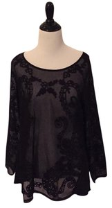 Lucky Brand Sheer Lace Top Black
