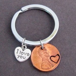 Fashion Jewelry For Everyone Silver I Love You Penny Keychain Couples Keychain Lucky Copper Penny Anniversary Gift Husband Wife Key Chain His Hers Gift