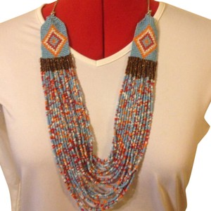Anthropologie Indian Seed Bead Aztec Design Statement Necklace