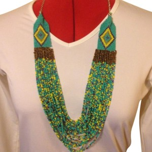 Anthropologie Beautiful Indian Seed Bead Aztec Design Necklace