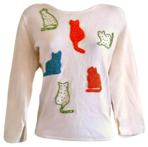 Susan Bristol 90s 1990s Cats Cat Beaded Top ivory