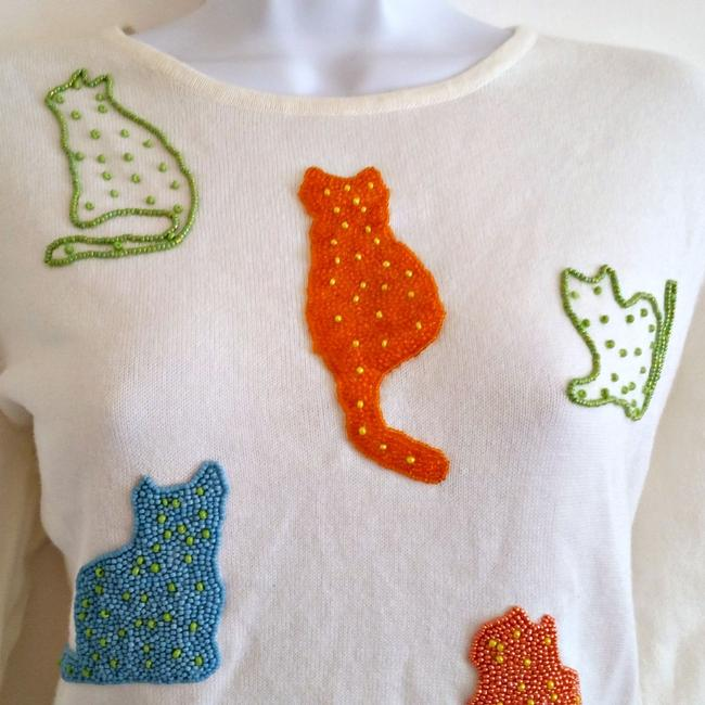 Susan Bristol 90s 1990s Cats Cat Beaded Top ivory Image 1
