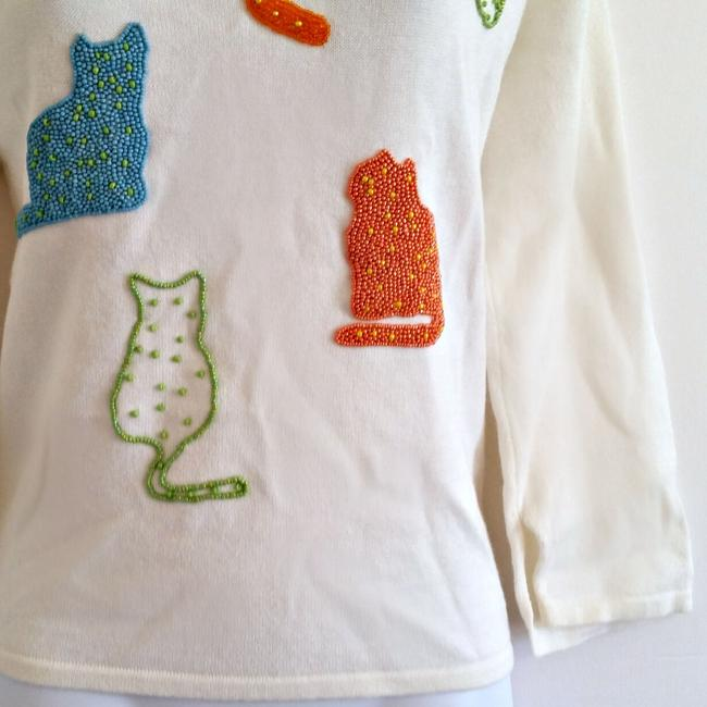Susan Bristol 90s 1990s Cats Cat Beaded Top ivory Image 2