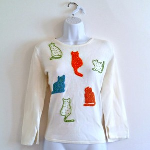 Susan Bristol 90s 1990s Cats Cat Beaded Top White