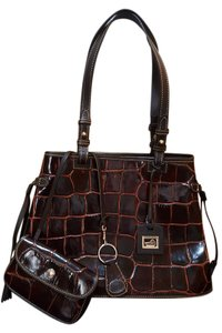 Dooney & Bourke Monogram Crocodile Leather Satchel in Brown