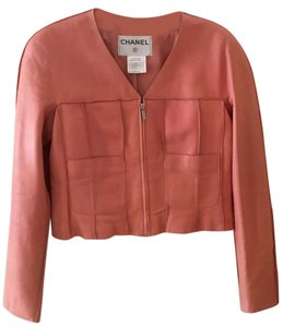 Chanel Vintage Lambskin Size 8 Leather Pink Leather Jacket