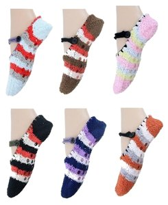 6 Pairs Assorted Colors Cozy Women Girls Slipper Socks