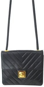 Chanel Blue Navy Chevron Shoulder Bag
