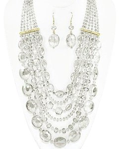 Other Clear Glass Stones Beads Multi Strand Necklace and Earring