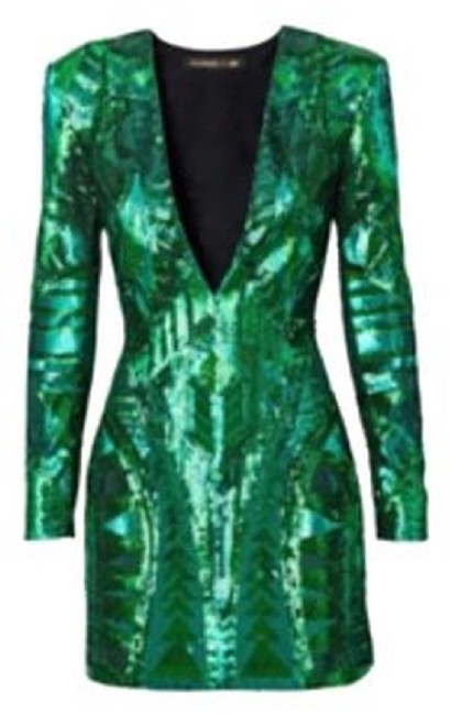 Item - Green Limited Edition Above Knee Cocktail Dress Size 12 (L)