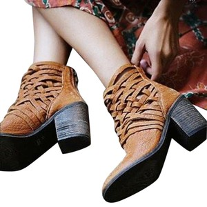 Anthropologie Free People Vintage Tan Crisscross Caged Sz 39 Boots