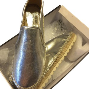Nine West 7 1/2 Silver Leather Espadrilles Silver Flats