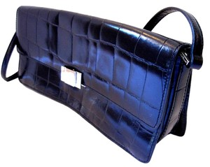 Cole Haan Crocodile Grained Leather Black Clutch
