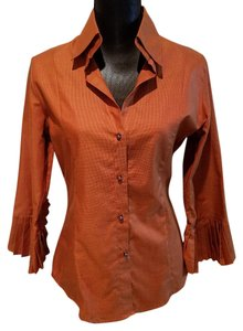 Farinaz Taghavi Button Down Tunic Top Burnt Orange