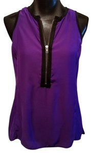 Nanette Lepore New Without Tag 078-1454 Tank Visionary Zip Front Top Purple