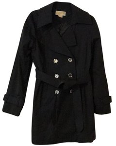MICHAEL Michael Kors Double Breasted Rain Coat Black Jacket