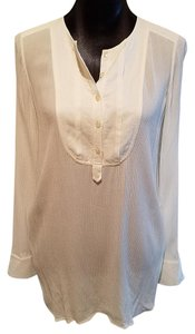 Vince Paneled Crepe Cream Long Sleeve Tunic Tunic Top Ivory
