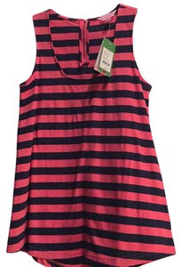 Lilly Pulitzer Top Pink and navy stripe gold zipper