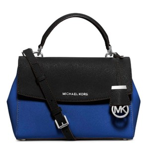 Michael Kors Ava Messenger Satchel in ELECTRIC BLUE BLACK tone
