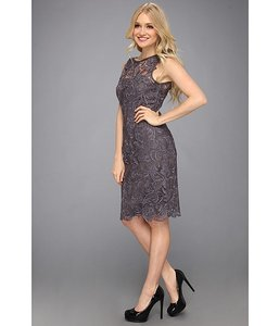 Adrianna Papell Charcoal Lace Sheath Dress