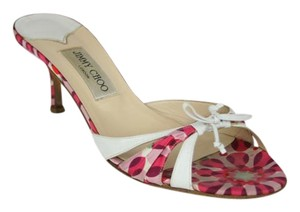 Jimmy Choo Bow Leather Silk Satin Kitten HOT PINK, PINK AND WHITE Mules