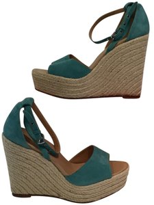 Hermès Suede Espadrille Sandals Teal Wedges