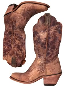 "Justin 12"" Road Distressed Leather Cowboy Tan Boots"