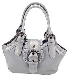 Isabella Fiore Small Rhinestone Belted Ruffle Satchel in Grey / Silver
