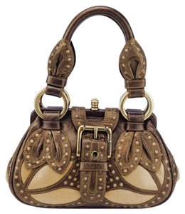 Isabella Fiore Leather Belted Cutouts Statement Bronze Satchel in Bronze/Gold