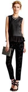 Harlyn Silk Velvet Burnout Relaxed Pants Black