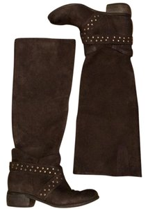 Boutique 9 9 Dark Leather Fallout Tall Shaft Brown Boots