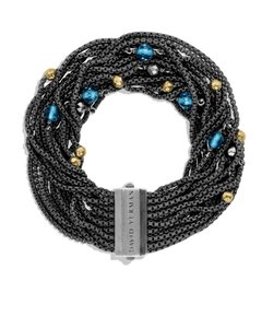David Yurman David Yurman New Mulit-Row Black Chain Gold Silver Bracelet