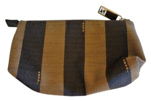 Fendi Pequin Striped Fabric Brown & Tan Small Zippered Cosmetic Pouch