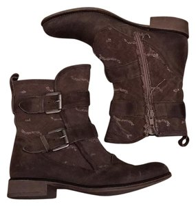 Boutique 9 Buckles Canvas Leather 9 Taupe Boots