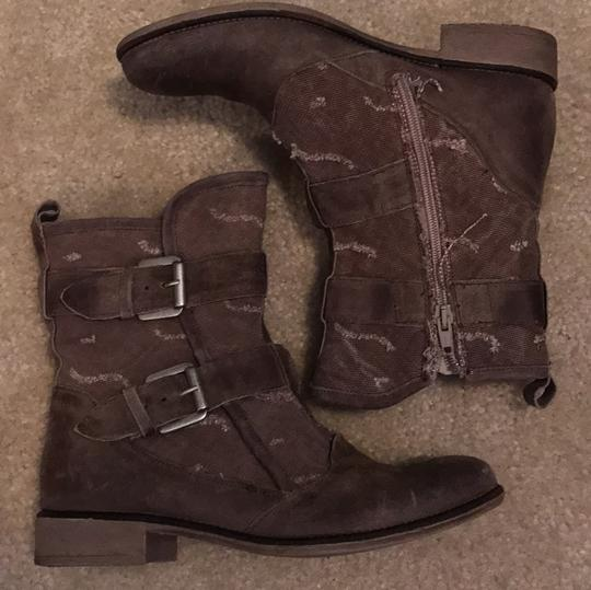 Boutique 9 Buckles Canvas Leather Taupe Boots Image 1