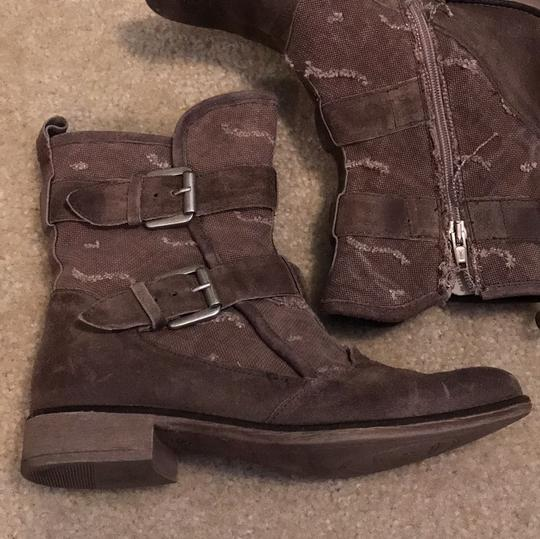 Boutique 9 Buckles Canvas Leather Taupe Boots Image 2