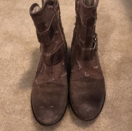 Boutique 9 Buckles Canvas Leather Taupe Boots Image 4